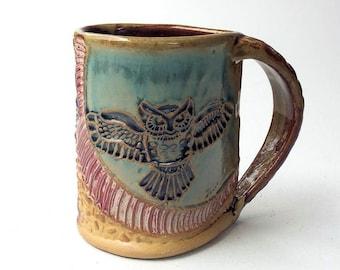 Owl Pottery Mug Coffee Cup Hand Made Microwave and Dishwasher Safe 12 oz