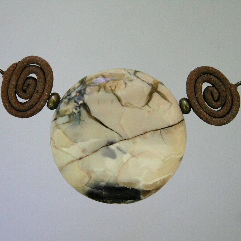 Sonoran Dendretic Ryolite and Tiffiny Stone two sided focal bead pendant