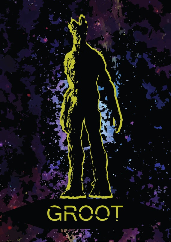 GUARDIANS of the GALAXY inspired GROOT Poster Wall Art Print selectable size