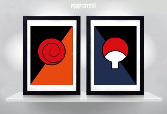 Naruto Poster Uzumaki Uchiha Clan Symbols Minimalist Etsy