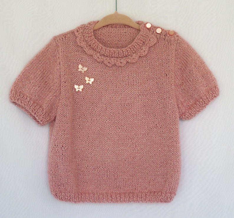 butterfly,Sweet Soft Special Gift Pink Sweater,Dusty Rose,Hand knitted,Baby Girl,Toddler,Rose
