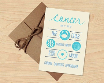 Cancer Card! Astrology Star Sign, Zodiac Birthday Design. Holiday Gift, Envelope included.