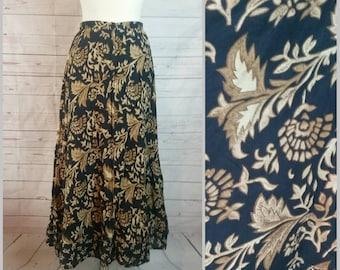 09da465c37 Bohemian Midi Skirt by St Johns Bay Size Medium 100% Cotton Midi Skirt Made  in India//Boho Gypsy Summer Beach Hipster Flower Child