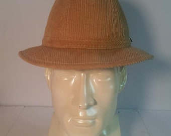 1980s London Fog Fedora Light Brown Corduroy Fedora Hat for Men Size Large  7 1 2 - 7 3 8 l Mad Men l Mens Fashions l Vintage Fedora b908314eac1a