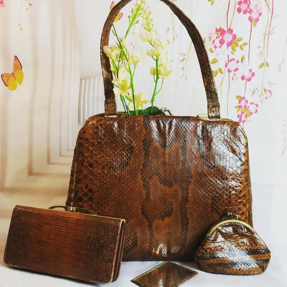 1950s Snakeskin Handbag with Matching Coin Purse M