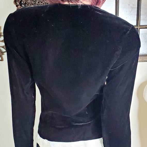 Sz 4 -6  Jessica McClintock Black Velvet Blazer w… - image 6