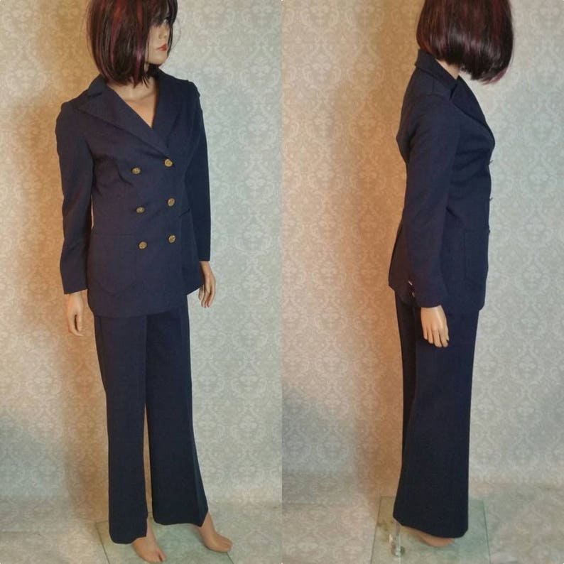 1960s Alfred Weber Navy Blue Pants Suit for Ladies Size 4 Vintage 1960s MOD Retro Hipster Clothing I High Waisted Pants and Blazer 1960s