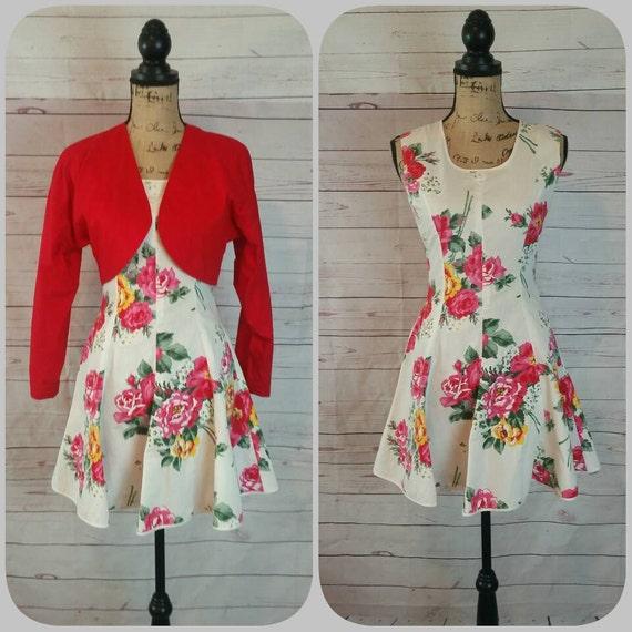 Juniors Red Bolero Jacket Flowered Dancing Dress w