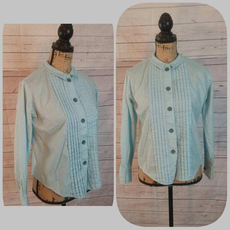 733e14ca6f 60s Bobbie Brooks Aqua Secretary Blouse Size Medium  Vintage