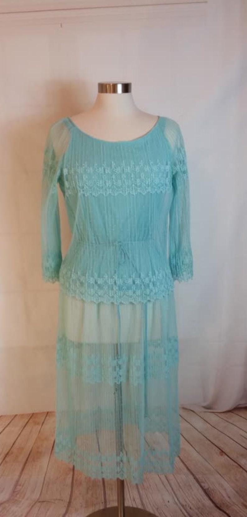 Baby blau schiere Spitze Midi Kleid mit Krawatte Taille | Etsy
