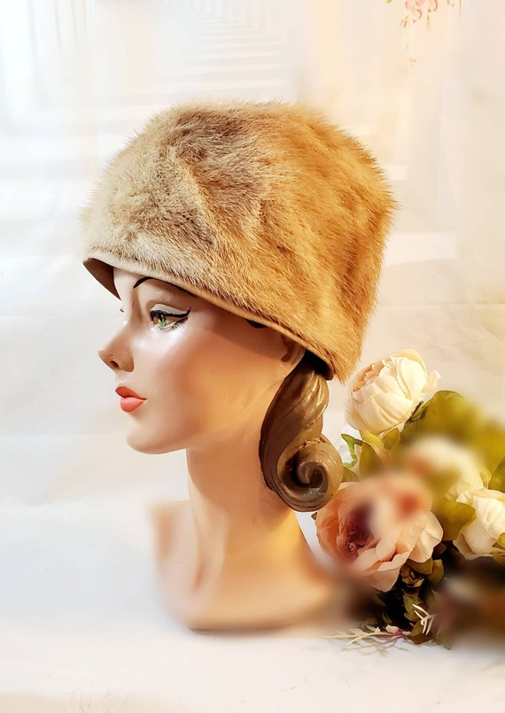 Vintage Fur Turban Style Hat 1950s 1960s l Winter