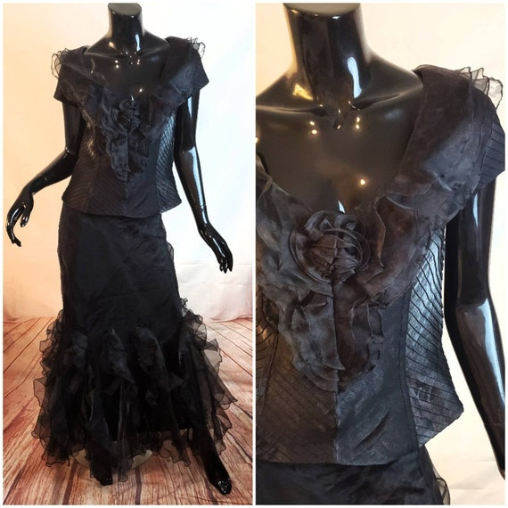 Black Two Piece Frilly Top and Maxi Skirt Size 8 1