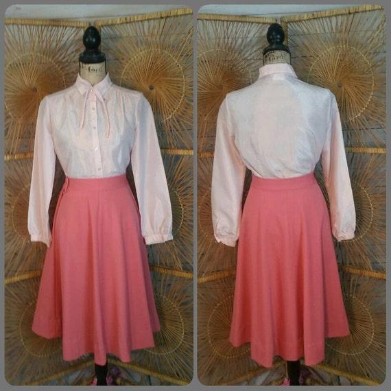 1960s Secretary Bow Blouse and Matching Full Skirt