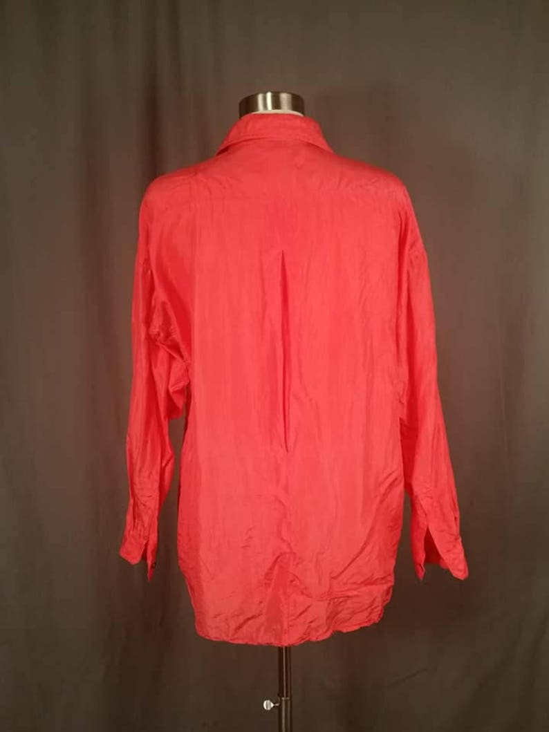 1980s Neon Orange Silk Short Sleeve Oversized Top Blouse for Ladies Size Small by Beaute l Bright Orange Pink Top l 1980s Fashions