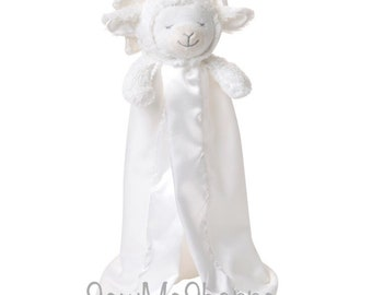 671bb740f6a Personalized Prayer Lamb Blankie  Baby Gift Lovie Easter Security Blanket    Embroidered   Christening