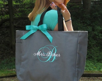 Monogrammed Personalized Tote Bag / Zip Tote / Bridal / Teacher / Work Bag /Beach Tote/Embroidered