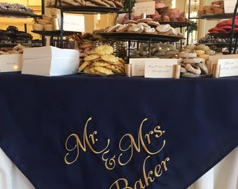 Personalized Dessert Tablecloth / Wedding Sign / Cookie Table /Birthday /Pittsburgh/ Embroidered/Custom/ Yinz / Wedding Decor/ Bridal Gift