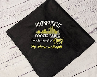 Pittsburgh Cookie Table / Wedding Sign Dessert Table/Skyline Embroidered Tablecloth / Personalized/Custom/ Yinz / Wedding Decor/ Bridal Gift