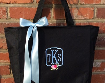 Monogrammed Personalized Bridal Party Tote Bag / Zip Tote /Wedding Gifts / Mother / Bridesmaid / Teacher / Work Bag /Embroidered
