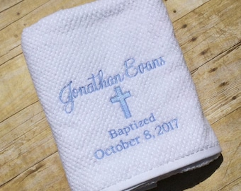 Personalized Baptism / Christening  Baby Towel Gift/Embroidered/Custom/New Baby, Baptism, Christening, Dedication.