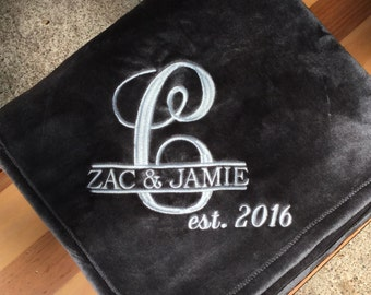 Personalized Embroidered Plush Throw Blanket /Wedding/Anniversary / Perfect for Graduation, Teens and Kids.