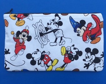 68765c12dd74 Disney Mickey Mouse Through The Decades Handmade Fabric Large Zipper Pouch Makeup  Bag
