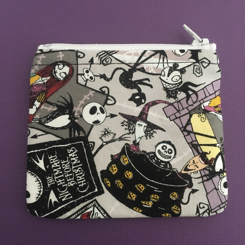 MINI Disney Nightmare Before Christmas Character Collage Handmade Fabric Small Zipper PouchCoin Purse