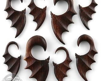 """Batwing Dark Tamarind Wooden Spiral Hangers - Sizes / Gauges (8G - 1/2"""")"""