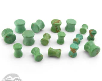 Genuine Green Turquoise Stone Plugs (2G, 0G, 00G) - Sold in Pairs (2pc)