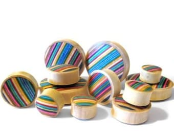 """Skateboard Deck Wooden Plugs - Sizes / Gauges (1/2"""" up to 2 Inch)"""