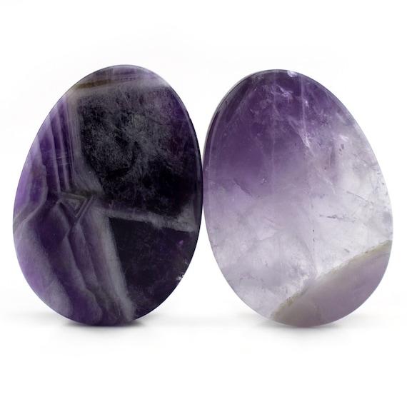 "- New! Teardrop Shape Amethyst Stone Plugs 2G - 7//8/"" Sizes // Gauges"