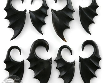 Batwing Horn Spiral Hangers  - Sizes / Gauges (8G - 0G)
