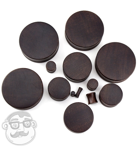 1 Pair Sizes  Gauges Dark Tamarind Wood Plugs 6G - 1 /& 12Inch