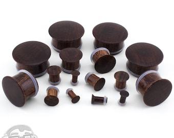 Single Flare Dark Tamarind Wood Plugs Sizes / Gauges (6G - 1 Inch) Pair