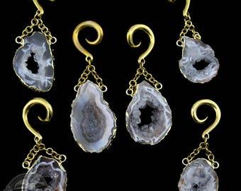 Geode Slice Brass Hangers / Ear Weights