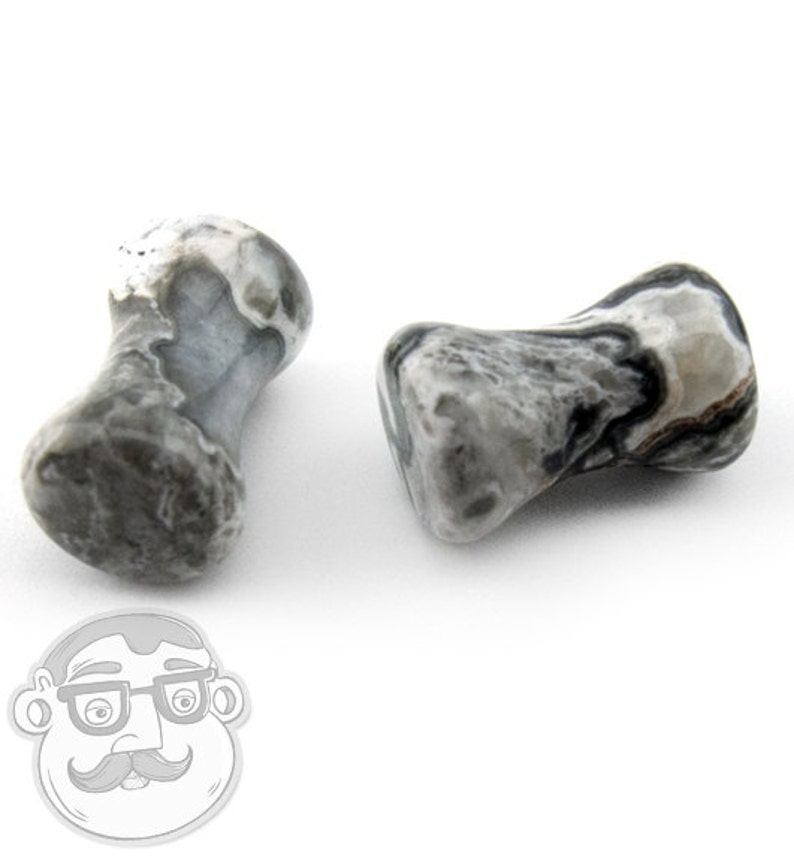 6G - 32mm New! Sold In Pairs Wave Jasper Stone Plugs Double Flare