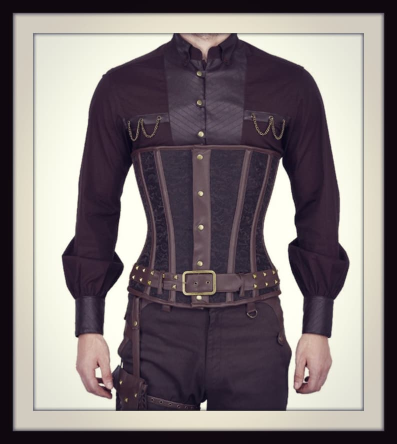 Men's Steampunk Vests, Waistcoats, Corsets Steampunk Mens Cincher $125.00 AT vintagedancer.com