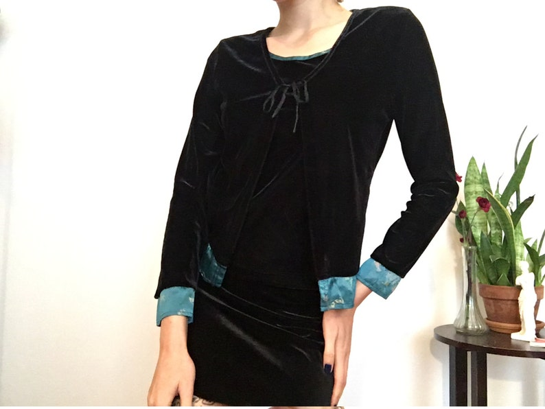 SALE Velvet Asian Top  silky  limited too  cardigan  blouse  xs
