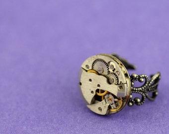 Ring Steampunk vintage watch movement ring stunning unique statement piece