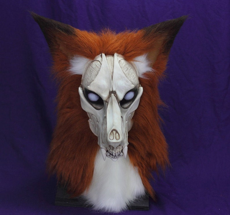 FOX Skull Fursuit zombie fur suit head realistic mask, gothic horror  articulated jaw,realistic eyes furry furries costume VOODOO DELICIOUS