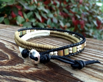 Wrap Bracelet -Leather Wrap Bracelet - Macrame Wrap Bracelet - Boho Jewelry - Leather Clasp - Tribe Hill Button Clasp