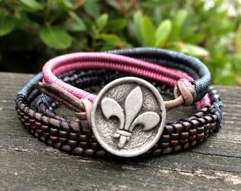 Wrap Bracelet - Boho Jewelry - Leather Clasp - Leather Wrap Bracelet - Macrame Wrap Bracelet - Fleur Di Lis Button