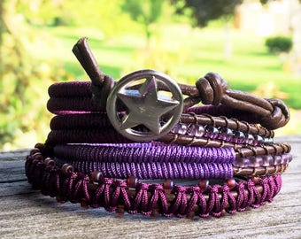 Wrap Bracelet- Macrame Bracelet- Birthday Gift- Star Button- Macrame Wrap Bracelet- Bohemian Jewelry- Leather Wrap Bracelet