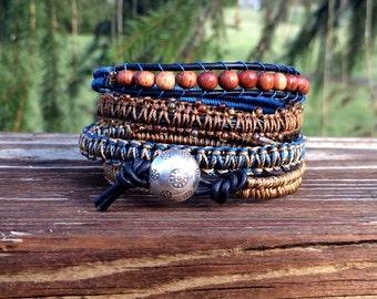 Wrap Bracelet- Macrame  Wrap Bracelet-  Bohemian Jewelry- Leather Wrap Bracelet- Tribe Hill Button- Navy Blue