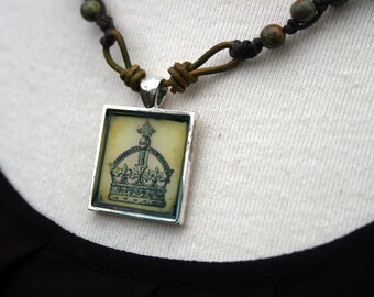 Bohemian Necklace - Boho Jewelry Leather Czech beads / Fleur Di Lis Button