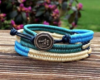 Wrap Bracelet -  Macrame Wrap Bracelet-  Bohemian Jewelry - Leather Wrap Bracelet -  Rustic Flower Button - Teal - Green