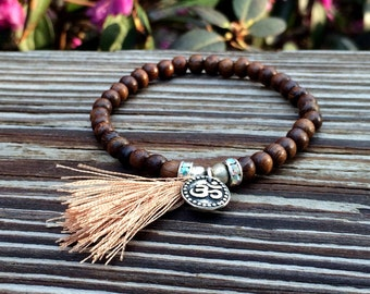 Yoga Bracelet - Stretch Bracelet- Wood Beads- Sparkle- Bohemian Jewelry- Stacking bracelet