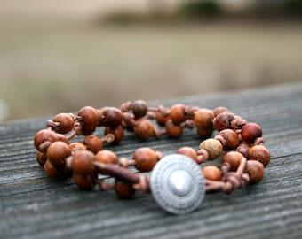 Wrap Bracelet- Leather Wrap Bracelet - Bohemian Jewelry -  Button Closure - Wood beads