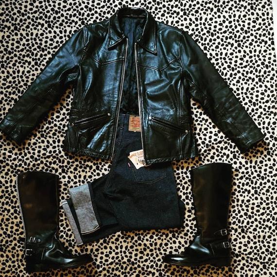1940's style women leather jacket - image 6