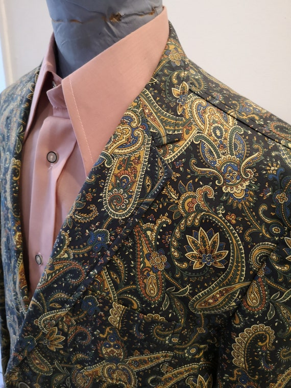 1960's style psychedelic paisley print blazer - image 5